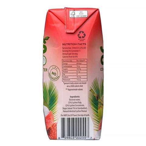 Juscoco Coconut Water and Lychee 330ml - 2kShopping.com