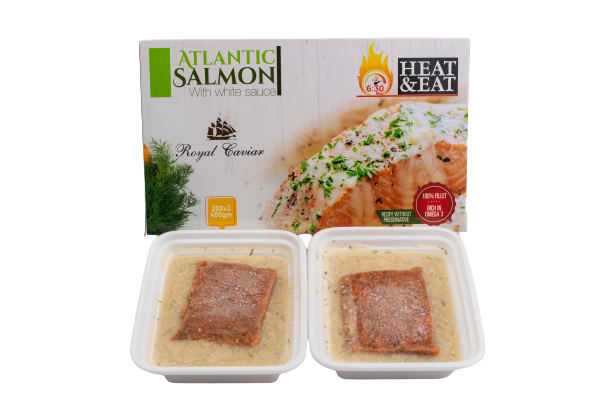 Royal Caviar Salmon Portion in White Sauce, Ready to Eat 2 Pieces, 400g - 2kShopping.com - Grocery | Health | Technology