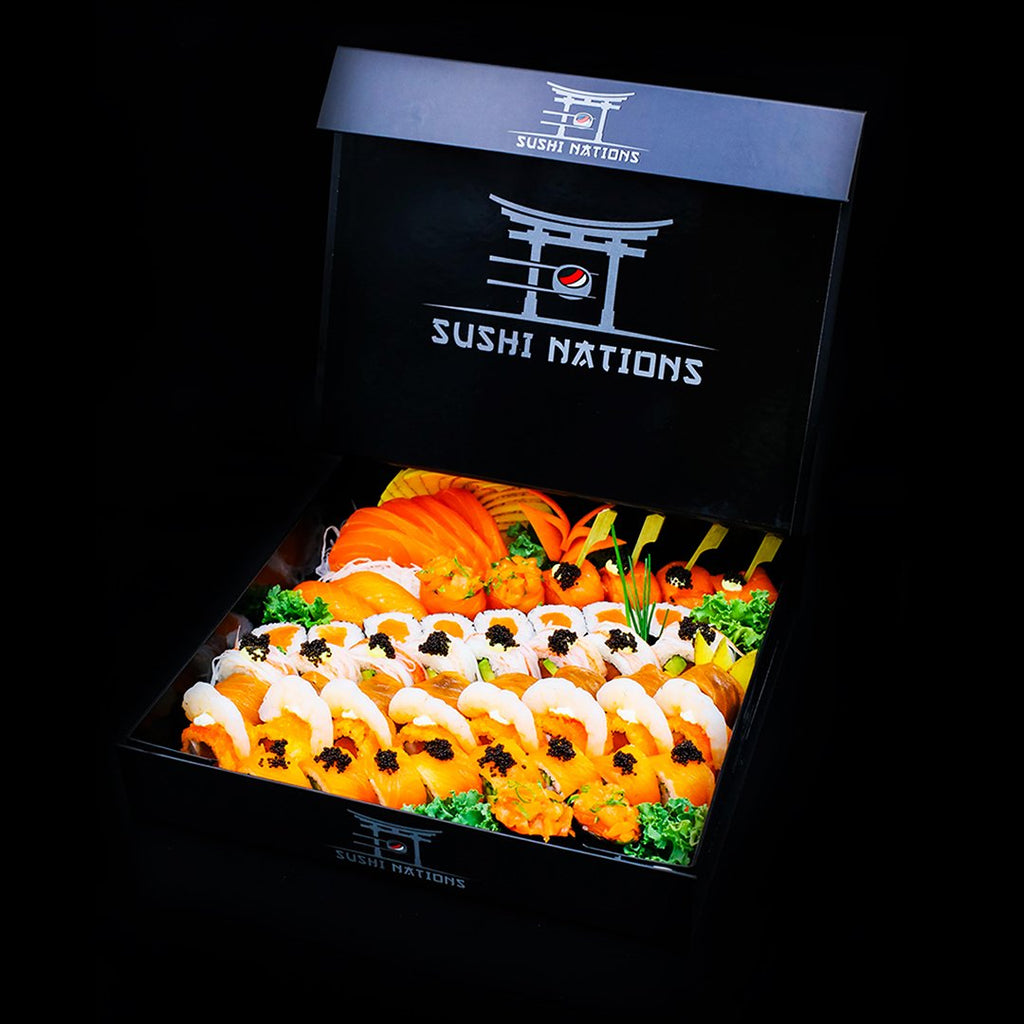 Our Special VIP Box Mix with Our Salmon Dishes by Sushi Nations - Freshly Prepared, Fast Delivery