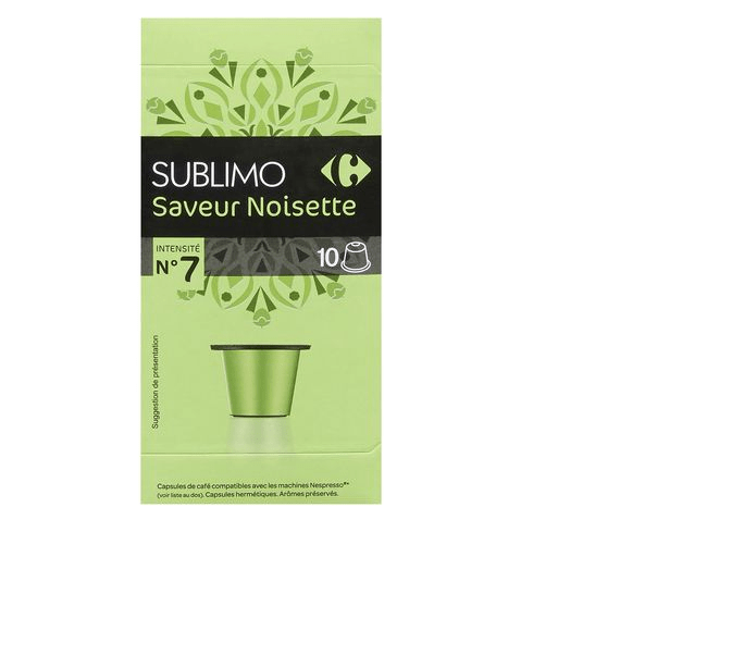Carrefour Sublimo Hazelnut Coffee Capsules Pack Of 10 52g - 2kShopping - Grocery | Health | Technology