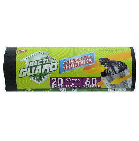 Bacti Guard Garbage Bags Antibacterial Protection 60 Gallons 20 Bags - 2kShopping.com - Grocery | Health | Technology