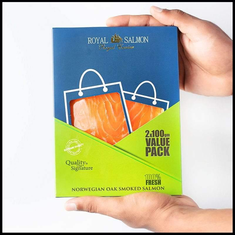 Royal Salmon Norwegian Oak Smoked Salmon Pre-sliced Value Pack 2x100g - 2kShopping.com - Grocery | Health | Technology
