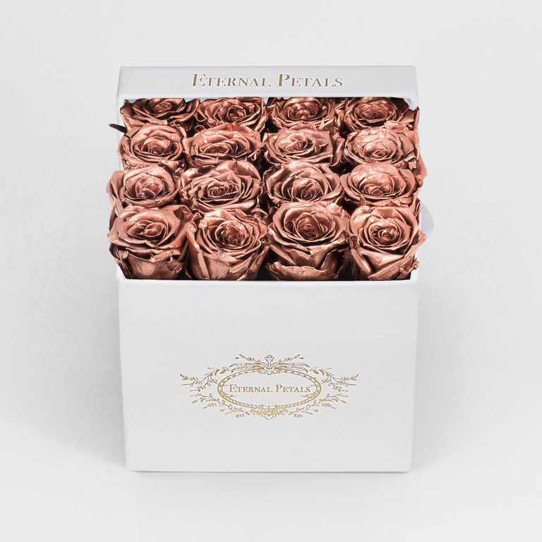 ROSE GOLD | WHITE FLOWER BOX
