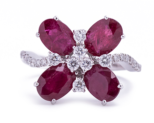 Ruby and diamond ring eighteen karat white gold Artisan Carat