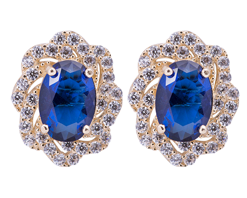 14k gold and blue sapphire stud earrings Artisan Carat