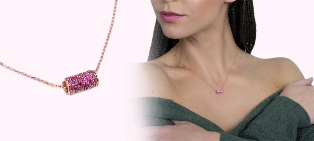 Artisan Carat Ruby and Diamond necklace model