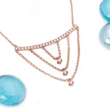 Layering Drop Diamond Pendant with Necklace in 18k Rose Gold - Artisan Carat