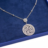 Antique Style Spiral Design Diamond Double Pendant with Necklace in 18k White Gold - Artisan Carat