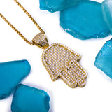 Sterling Silver Solid Medium Hamsa CZ Yellow Gold Pendant with Necklace - Artisan Carat