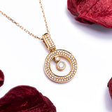 Swinging Round Bezel Diamond Pendant and Necklace in 18k Yellow Gold - Artisan Carat
