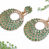 Peacock Green Garnet and Diamond English Lock Earrings in 18k Yellow Gold - Artisan Carat