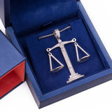 Sterling Silver Libra Scales of Justice CZ Pendant with Necklace - Artisan Carat