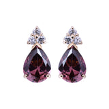 June Birthstone Purple Alexandrite Pear Shape CZ Drop Stud Earrings in 14k Yellow Gold - Artisan Carat