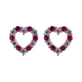 Ruby Red Valentine Heart Shaped CZ Stud Earrings in 14k Yellow Gold - Artisan Carat