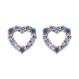 Aquamarine Heart Shaped CZ Stud Earrings in 14k Yellow Gold - Artisan Carat