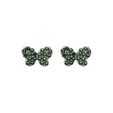 Green Peridot Mini Hairstreak Butterfly Stud Screwback Earrings in 14k Yellow Gold - Artisan Carat