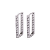 Rectangle Inside Out CZ Huggies Earrings in 14k White Gold - Artisan Carat