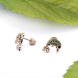 Green Peridot Dolphin Stud Screwback Earrings in 14k Yellow Gold - Artisan Carat