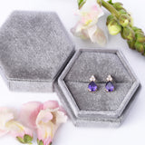 February Birthstone Amethyst Purple Pear Shape CZ Drop Stud Earrings in 14k Yellow Gold - Artisan Carat