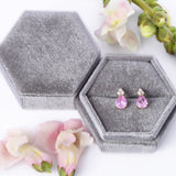 October Birthstone Pink Tourmaline Pear Shape CZ Drop Stud Earrings in 14k Yellow Gold - Artisan Carat