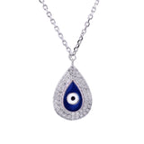 Sterling Silver Evil Eye Tear Drop CZ Pendant Necklace - Artisan Carat