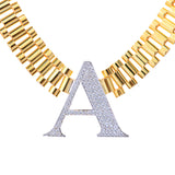 Ladies Initial Oyster Band Yellow Gold Plated CZ Choker Necklace Sterling Silver - Artisan Carat