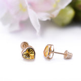 Yellow Topaz Mini Heart Stud Screwback Earrings in 14k Yellow Gold - Artisan Carat
