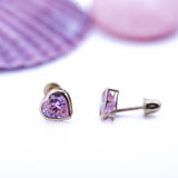 Pink Tourmaline Mini Heart Stud Screwback Earrings in 14k Yellow Gold - Artisan Carat