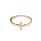 Sideways Cross T Ring in 14k Yellow Gold - Artisan Carat