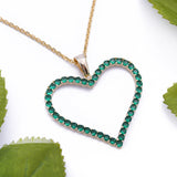 Sterling Silver Green Emerald Heart Yellow Gold Pendant Necklace - Artisan Carat