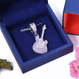 Sterling Silver Guitar Amethyst CZ Pendant with Necklace - Artisan Carat