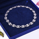 Women's Mariner Puff CZ Chain Choker Necklace White Gold Plated - Artisan Carat