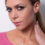 Snake Set Ear Crawler Earrings & Pendant with Necklace in 14k Yellow Gold - Artisan Carat