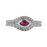 Organic Ruby Evil Eye Diamond Ring in 18k White Gold - Artisan Carat