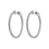 Large Inside Outside Diamond Hoop Earrings in 18k White Gold - Artisan Carat