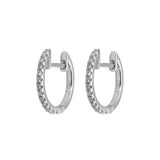 Diamond Huggie Earrings in 14k White Gold - Artisan Carat