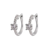 Bridal Huggie Diamond Earrings in 18k White Gold - Artisan Carat