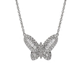 Butterfly Diamond Pendant Necklace in 18k White Gold - Artisan Carat