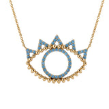 18K Yellow Gold Turquoise Evil Eye Pendant Necklace - Artisan Carat