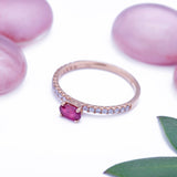Organic Ruby Dainty Diamond Ring in 18k Rose Gold - Artisan Carat