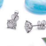 Artisan Carat Halo .52ct Stud Earrings in 18k White Gold - Artisan Carat