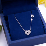 Diamond Heart Key & Lock Pendant Necklace in 18k White Gold - Artisan Carat