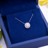 Diamond Halo Half Carat Pendant Necklace in 18k White Gold - Artisan Carat