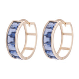 Blue Sapphire Emerald Huggie Earrings in 14k Yellow Gold - Artisan Carat