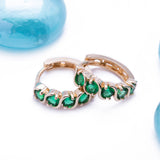 Green Emerald May Huggie Earrings in 14k Yellow Gold - Artisan Carat