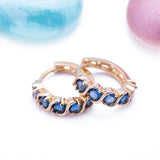 Blue Sapphire September Huggie Earrings in 14k Yellow Gold - Artisan Carat