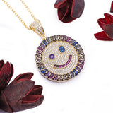 Sterling Silver Rainbow Gemstones Happy Face CZ Yellow Gold Pendant with Necklace - Artisan Carat