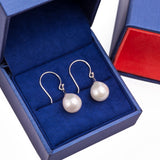 Hanging Freshwater Pearl Fish Hook Earrings in 14k White Gold - Artisan Carat
