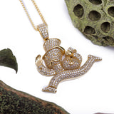 Sterling Silver Money Man and Bag CZ Yellow Gold Pendant with Necklace - Artisan Carat