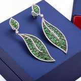 Large Hanging Green Peridot and Diamond Leaves Stud Earrings in 18k White Gold - Artisan Carat